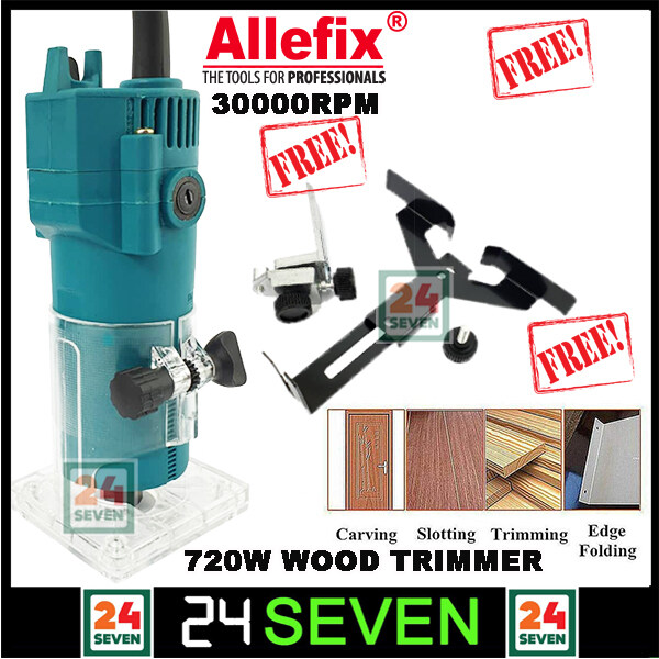 [ READY STOCK ] Allefix Wood Trimmer Machine 720w Wood Trimmer Router Machine Electric Hand Trimmer Wood Router FREE 2 Router Bit And Accessories / Palm Router Trimmer