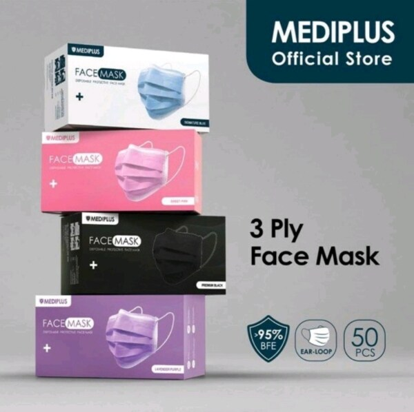 💯Original with Logo Mediplus ⚠️Ready Stock⚠️ Mediplus Adult Face Mask 3 ply BFE <95% Disposable Face Mask With Box 50pcs