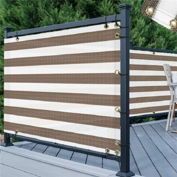 1x5m Stripe Privacy Screen Fence Balcony Privacy Protection Board UV Protection Opaque Weatherproof Balcony Cover