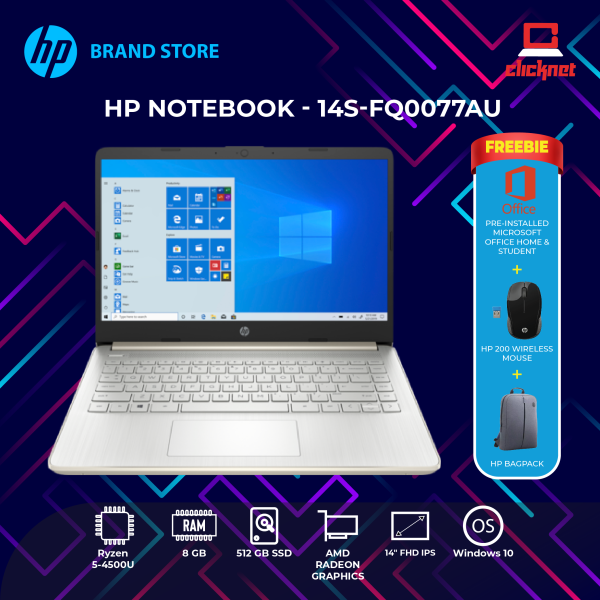 HP 14S-FQ0077AU (RYZEN5-4500U, 8GB, 512GB SSD, 14FHD, W10, MS OFFICE 2019 Preinstalled, Pale Gold) Malaysia