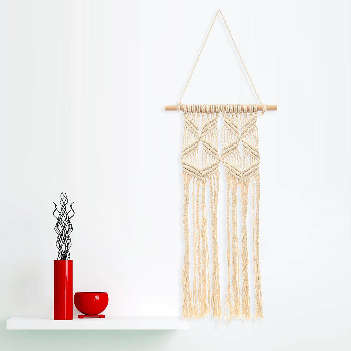 【Free Shipping + Flash Deal】Bohemian Macrame Tassel Woven Wall Hanging Handmade Tapestry Knitting Decor