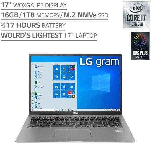 LG Gram Laptop - 17 IPS WQXGA (2560 x 1600) Intel 10th Gen Core i7 1065G7 CPU, 16GB RAM, 1TB M.2 MVMe SSD (512GB x2), 17 Hour Battery, Thunderbolt 3 - 17Z90N (2020) Malaysia