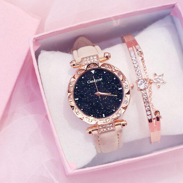 SFNY Casual Starry Sky Watches For Women Rhinestone Bracelet Watches Leather Quartz Wristwatch Ladies Clock Without Box(Without Bracelet) Malaysia