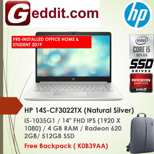 HP 14S-CF3022TX (Silver) / 14S-CF3023TX (Gold) LAPTOP (I5-1035G1,4GB,512GB SSD,14 FHD,RADEON 620 2GB,WIN10) FREE BACKPACK + PRE-INSTALLED OFFICE H&S 2019 Malaysia