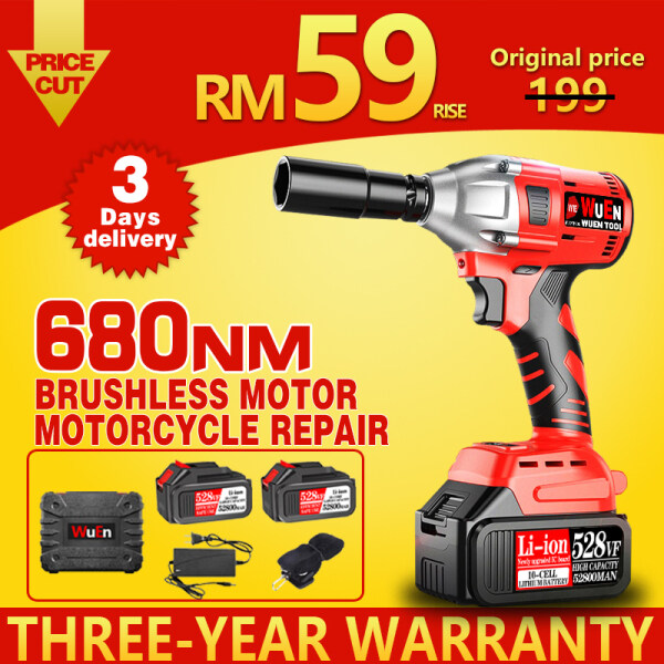 【Ready Stock】 680NM Torque Cordless Impact Wrench Brushless Motor 1/2 inch Screwdriver Driver Spanner Li-ion Battery Motorcycle Repair Scaffolding Installation  Power Tools Cordless Drill Rechargeable