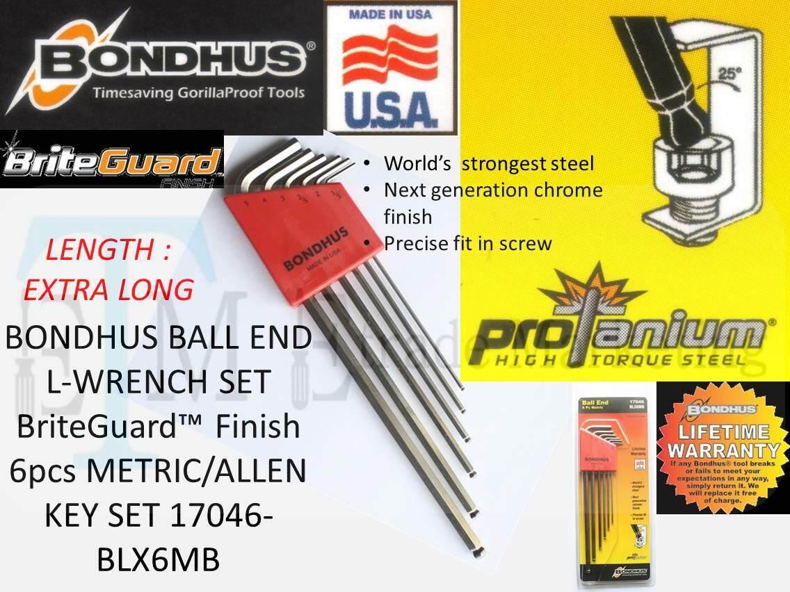 BONDHUS BALL END L-WRENCH SET BriteGuard™ Finish 6pcs METRIC/ALLEN KEY SET 17046-BLX6MB (MADE IN USA)