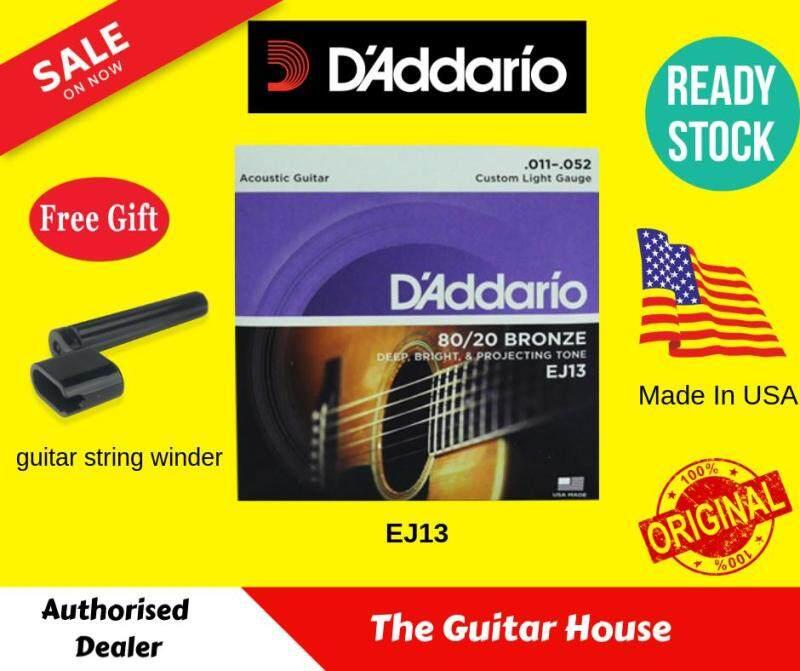 DAddario EJ13 80/20 Bronze Acoustic String ,Free Guitar Winder (Made In USA) DAddario Malaysia