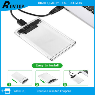 Rovtop HDD SSD Case Hard Drive 2.5 inch Transparent Box SATA 3 to USB 3.0 Enclosure for Household Computer Safety Parts Push and Pull Convenience thumbnail