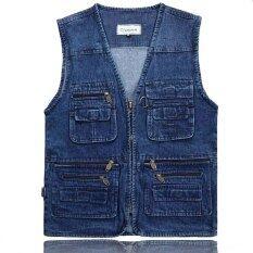 Thiết Kế Áo Ghi Lê Mới Nhất Cho Nam Giới Jeans Denim Áo Ghi Lê Nam Với Nhiều Túi Thời Trang Vest Nam Không Tay Áo Khoác Câu Cá Vest