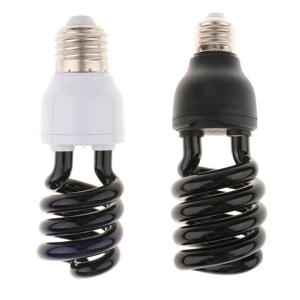 Perfk 2x UV Fluorescent Blacklight Glowing Bulb Party Event Light Money Detector E27