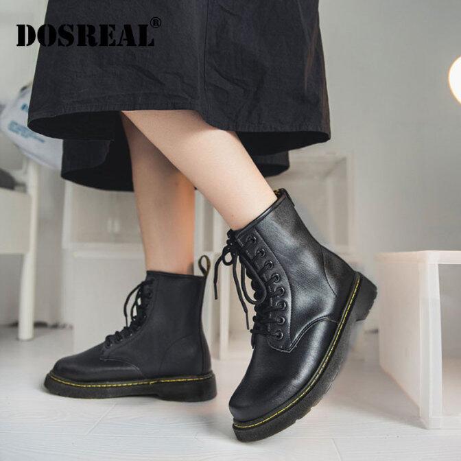 DOSREAL Nữ Unisex Khởi Động Da Thời Trang Hàn Quốc Phụ Nữ Giày Bốt Bệt Mắt Cá Chân Cho Kích Thước Cho Nữ 36-43 Phụ Nữ Phụ Nữ Giày giá rẻ