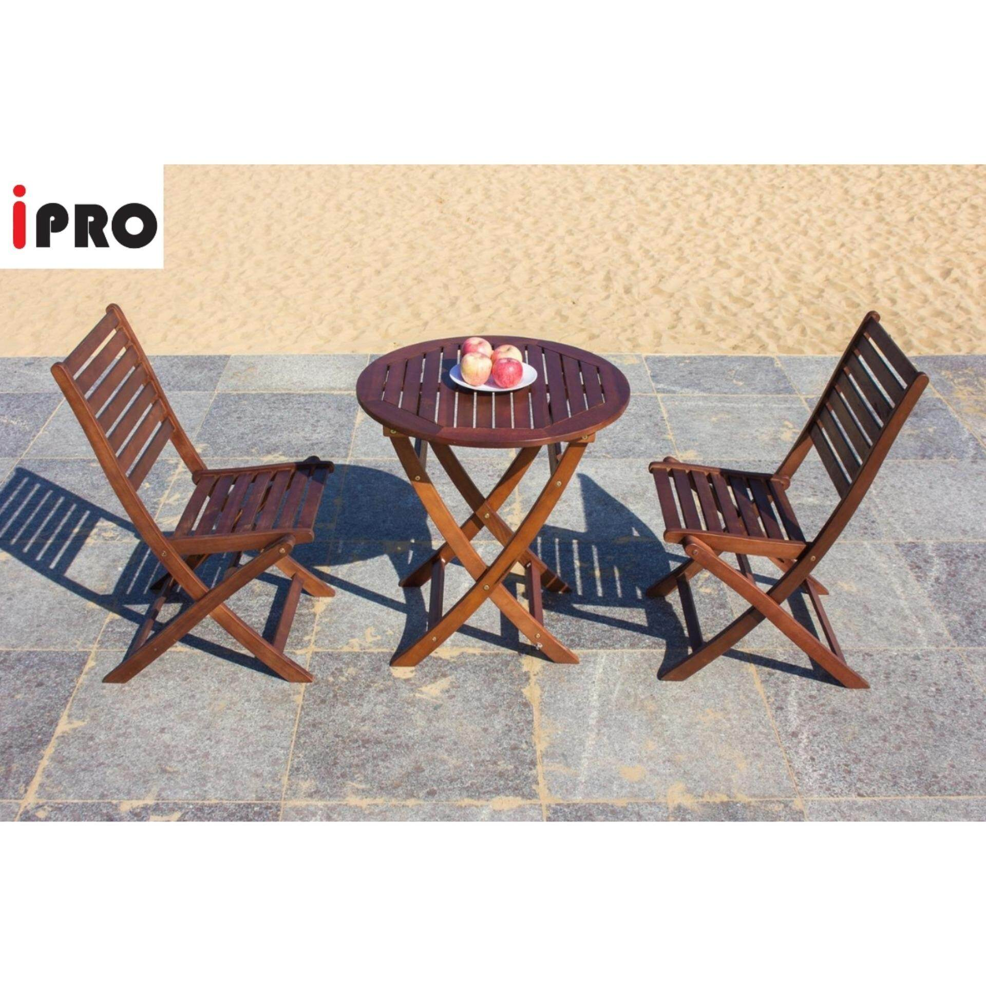 IPRO Outdoor Wooden Table & Chair / Patio Garden furniture-Round Table 70 cm with 2 Folding Chair