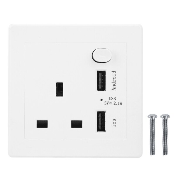 86 Type Wall Switch Socket with 2 USB Port Concealed Installation Intelligent Outlet 110-250V