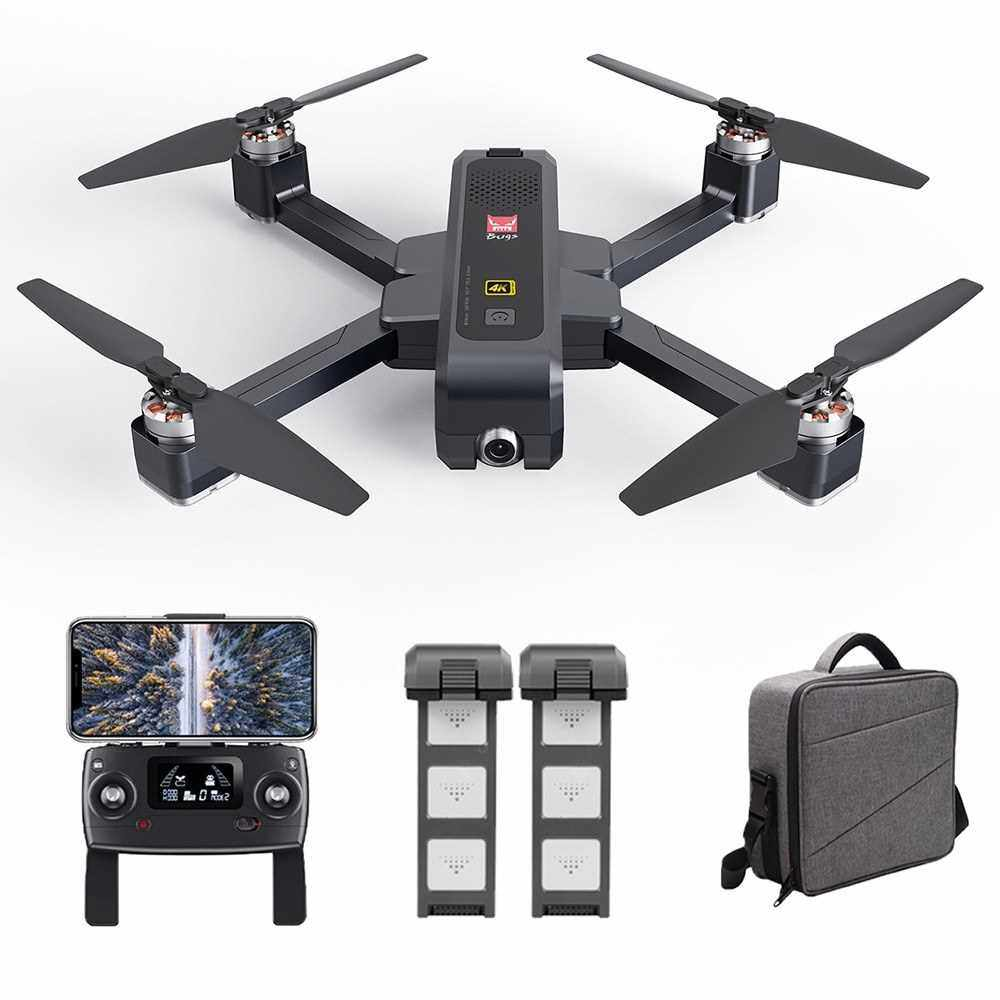MJX B4W Drone Bugs 4W Brushless RC Drone with Camera 4K 5G WIFI FPV GPS Ultrasonic Optical Flow Positioning Drone Foldable Quadcopter Follow Me Drone with 2 Battery Handbag (Black)