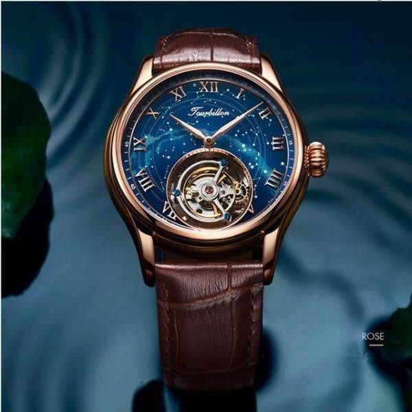 ANGELA BOS Luxury Mechanical Watch Men Waterproof Tourbillon Automatic Wrist Watch Man Rose Gold Clock Reloj 2018 Montre Homme Malaysia