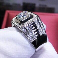 Nhẫn nam đính đá quý tự nhiên 925 Sterling Silver sang trọng