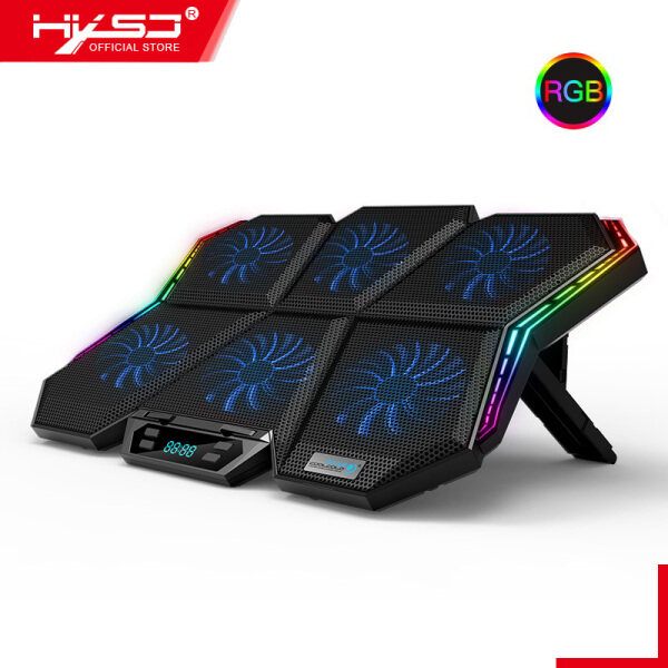HXSJ Gaming RGB Laptop Cooler 12-17 Inch Led Screen Laptop Cooling Pad Notebook Cooler Stand with Six Fan and 2 USB Ports Malaysia