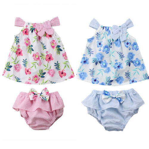 3Pcs Infant Baby Girls Summer Clothes Set Floral Vest Jumpsuit Bowknot Shorts Outfits for 0-3 Years Old
