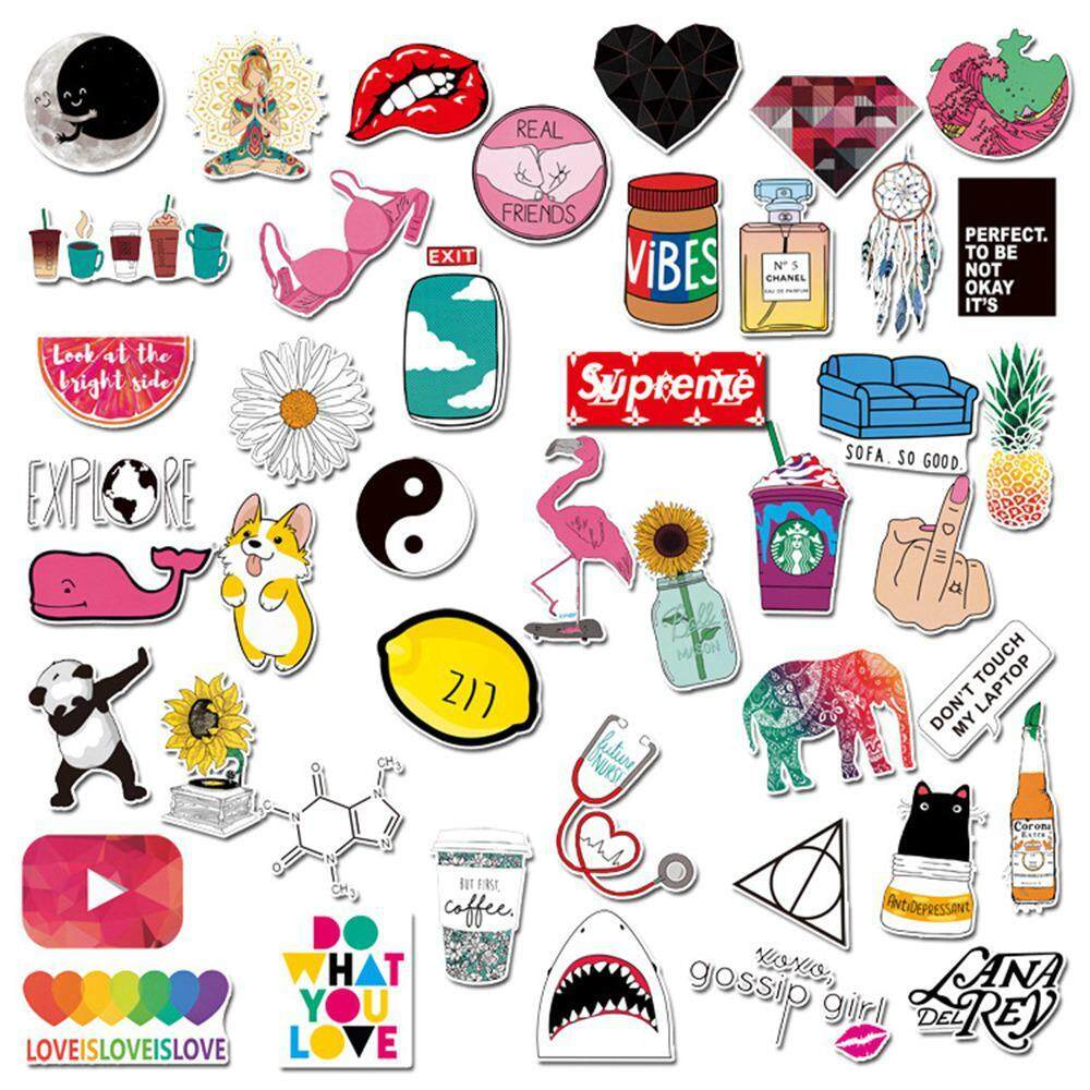 Buyinbulk cute laptop stickers water bottle decal sticker pack for girls car stickers motorcycle