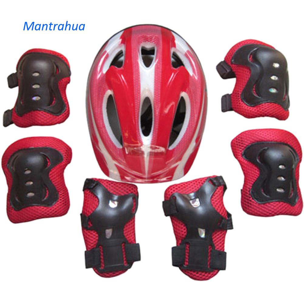 Mantrahua 7 Cái Chàng Trai Và Cô Gái Trẻ Em Skate Xe Đạp Xe Đạp Mũ Bảo Hiểm An Toàn Đầu Gối Khuỷu Tay Pad Set