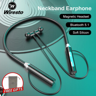 Wiresto Neckband Headphone Bluetooth 5.1 Hanging Ear Earphone Magnet Design Soft Memory Silicone Anti-Sweat Sport Earphone HD Stereo Headset 20H Music Playing Fast Charging Support up to 32G Micro SD Card thumbnail