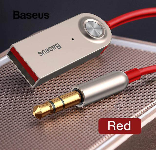 Baseus USB Bluetooth Adapter Dongle Cable For Car 3.5mm Jack Aux Bluetooth 5.0 4.2 4.0 Receiver Speaker Audio Music Transmitter-Red
