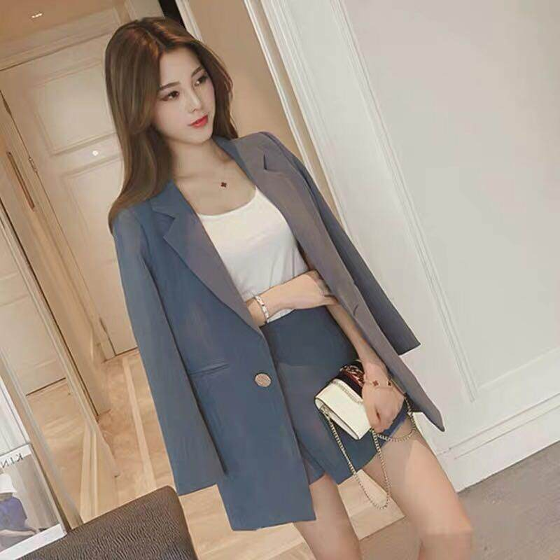 dc54d1462dfc1 Summer Women Striped Skirt Suits One Button Notched Blazer Jackets and Slim  Mini Skirts Two Pieces