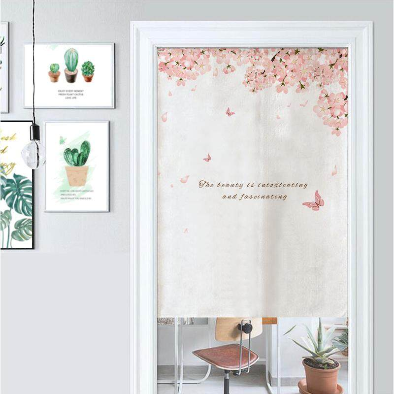 Japanese-style  Flower butterfly Bedroom living room decorative partition long Door curtain fabric bedroom Print cute Door curtain kitchen short Door curtain with rod