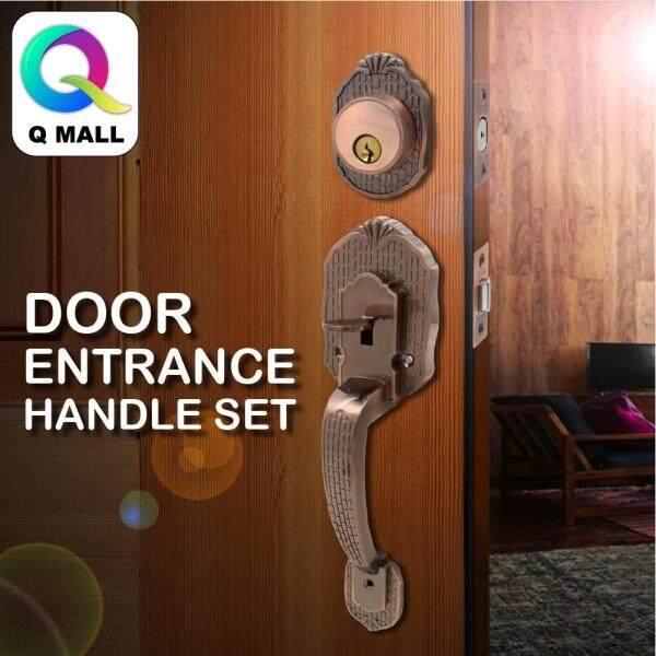 Q MALL DOOR ENTRANCE HANDLE LOCK SET ANTIQUE COPPER TC1188AC