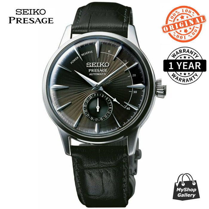 SSA345J1 Mens Presage Automatic Power Reserve Indicator Black Leather Strap Watch Malaysia