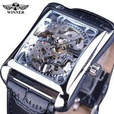Đồng hồ nam mặt kính vuông độc đáo thiết kế mạnh mẽ nam tính, dây da lịch lãm WINNER