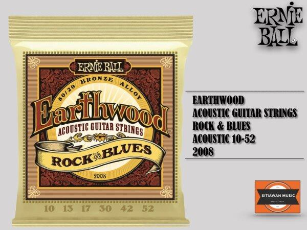 Ernie Ball 2008 Acoustic Guitar Strings Earthwood Bronze Rock and Blues (10-52 GAUGE) Malaysia