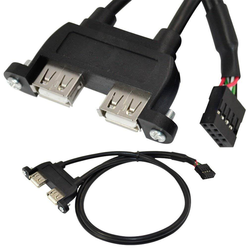25cm Dual Usb 2.0 A Female Panel Mount - 10p 0.1inch Header Pitch Motherboard Cable By Ertic.
