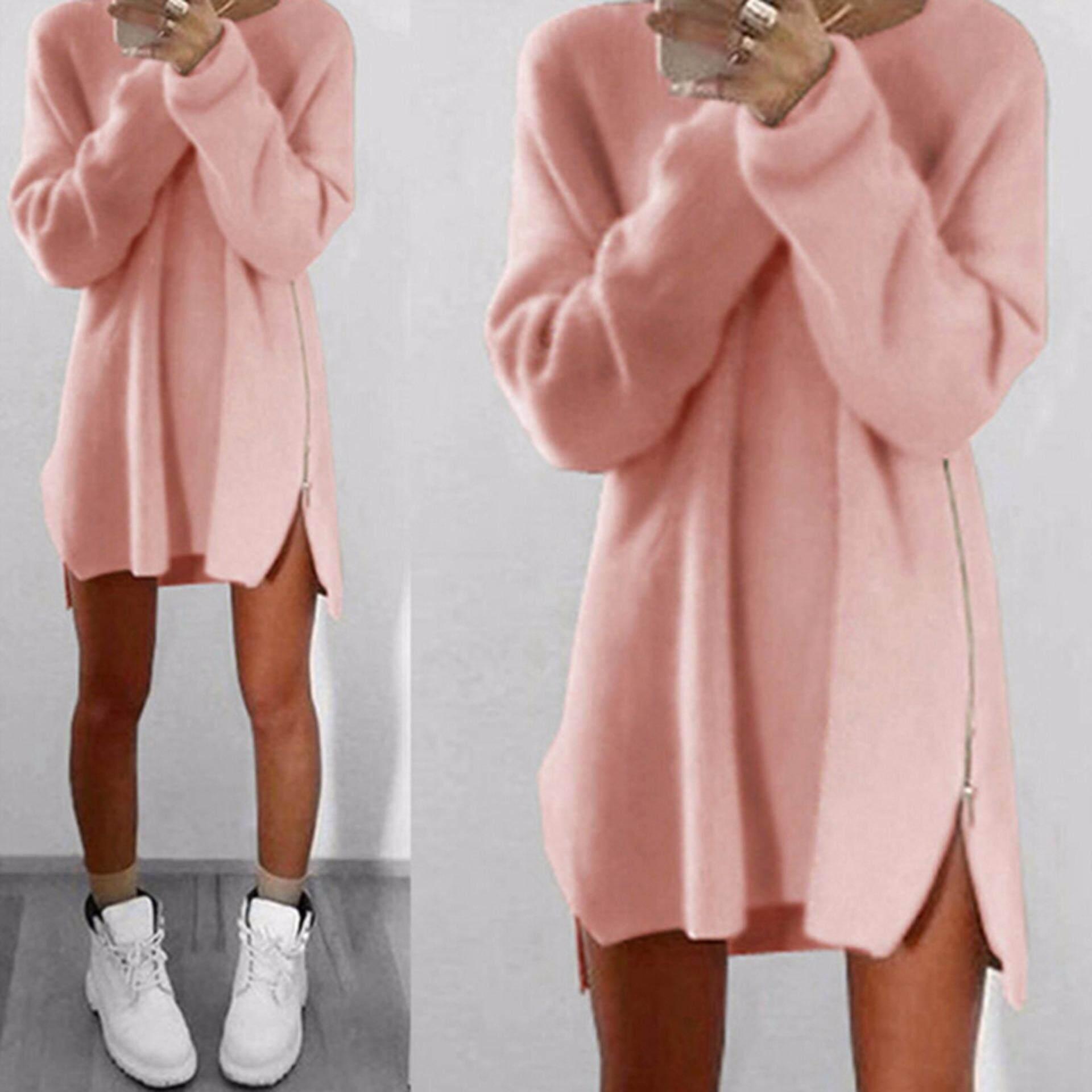 7fe7571062 Amango Oversized Women Long Sleeve Knit Cardigan Jumper Tops Loose Casual  Sweater Dress