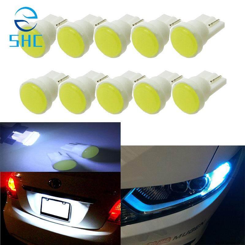 SHC 10 Pcs Keramik LED Interior Mobil T10 COB W5W 168 Baji Instrumen Pintu Sisi Bohlam Lampu Lampu Mobil Putih/Biru/Hijau/ merah/Kuning Sumber (Merah Muda)