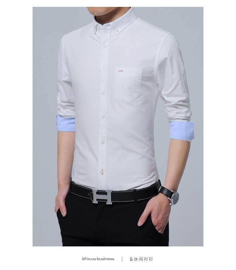 b9ccb084fc2 Men s cotton oxford shirt long sleeve wild casual retro Korean version of the  slim shirt