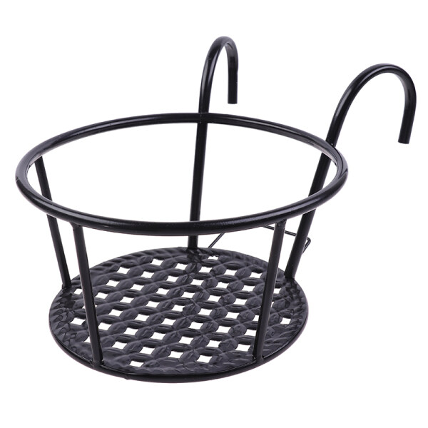 Blowing Outdoor Hanging Basket Plant Iron Racks Fence Balcony Round Flower Pot Decor