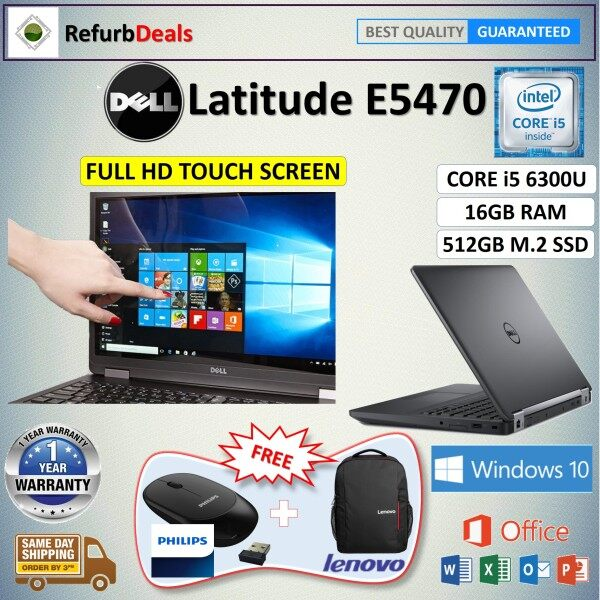 FULL HD TOUCH SCREEN - DELL LATITUDE E5470 CORE i5-6300U Skylake / 16GB DDR4 RAM / 512GB M.2 SSD / WINDOWS 10 PRO / 14 inch FULL HD TOUCH SCREEN / REFURBISHED NOTEBOOK /  TOUCH SCREEN LAPTOP Malaysia
