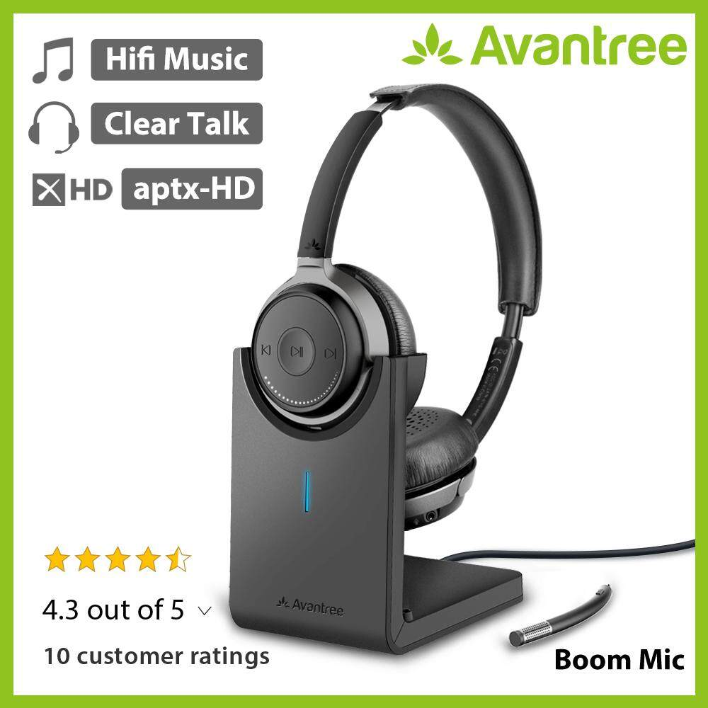 Avantree Bluetooth 5.0 On Ear Headphones With Detachable Mic & Charging Stand, Aptx Hd Bluetooth Headset For Pc Computer, Low Latency, Superior Sound For Music, Skype, Calls, Tv, Phones - Alto Clair.