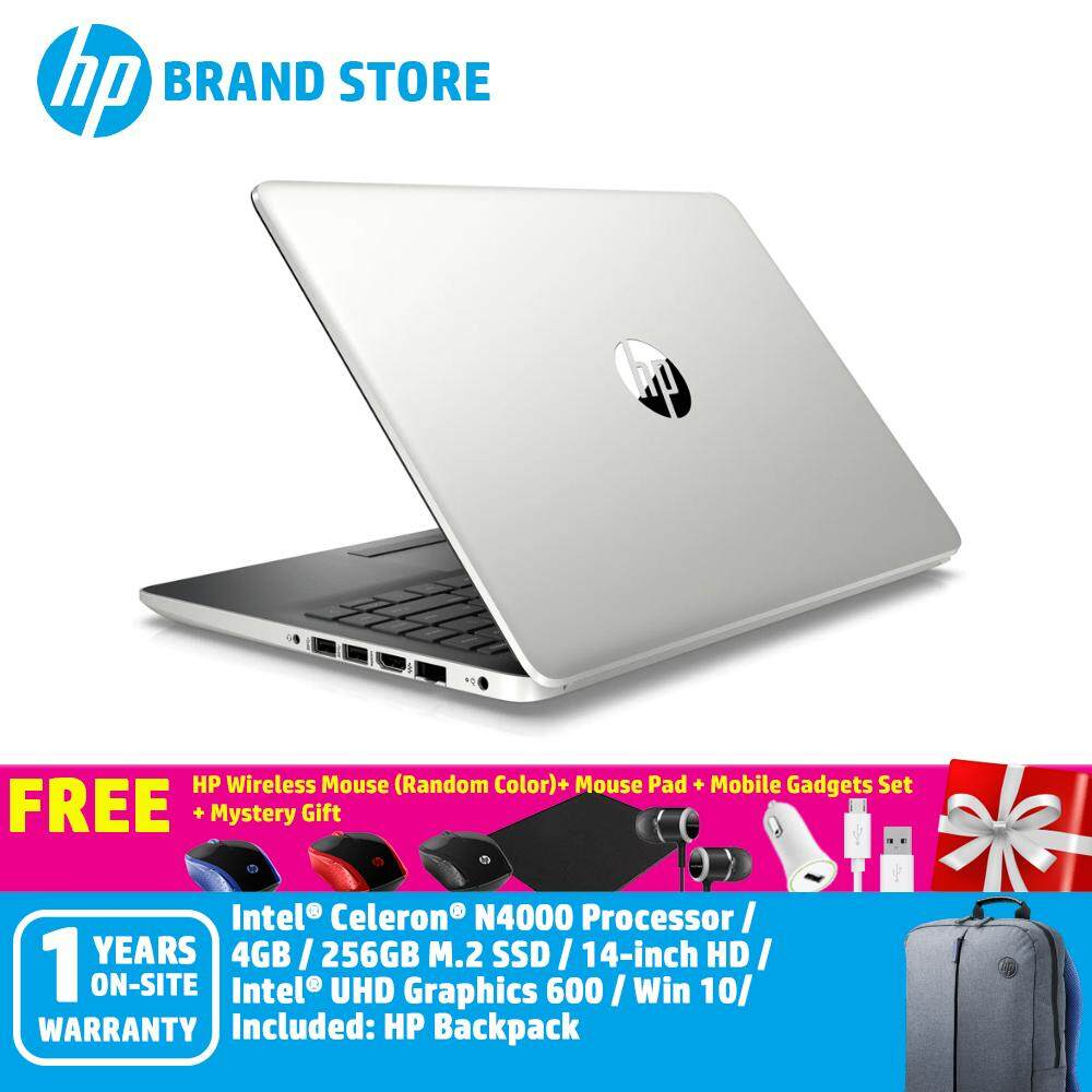 HP 14s-cf0064tu Notebook 6JM65PA Natural Silver /Celeron/4GB/256GB M.2/Intel/14Inch HD/Win 10+HP Wireless Mouse (Random Color)+ Mouse Pad + Mobile Gadgets Set + Mystery Gift Malaysia