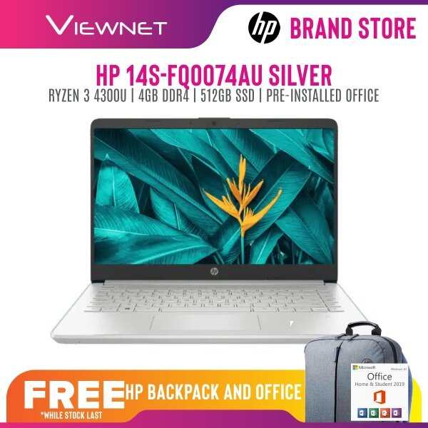 HP 14S-FQ0075AU, 14S-FQ0074AU LAPROP AMD RYZEN 3 4300U 4GB DDR4 512GB SSD AMD RADEON GRAPHICS 14HD GOLD PRE-LOADED OFFICE H&S 2 YEAR WARRANTY Malaysia