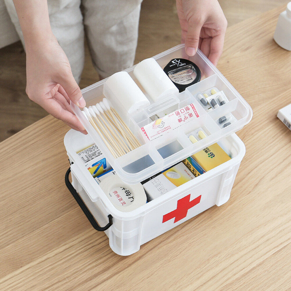 Samsmy Portable large-capacity medicine storage box first aid box 2 layers of high-quality plastic material insect-proof and moisture-proof with handle suitable for home company school
