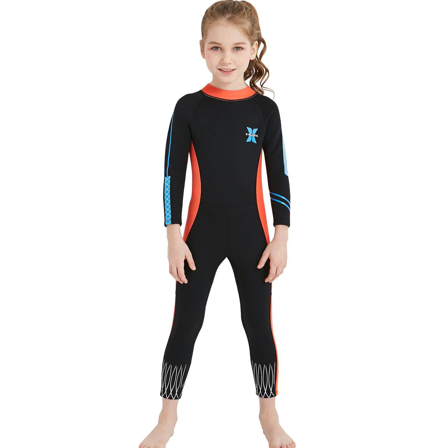 645429c0a3 2.5MM Neoprene Wetsuits Children Full Body Diving Suits Surf Swimwear For  Girls(Blue)
