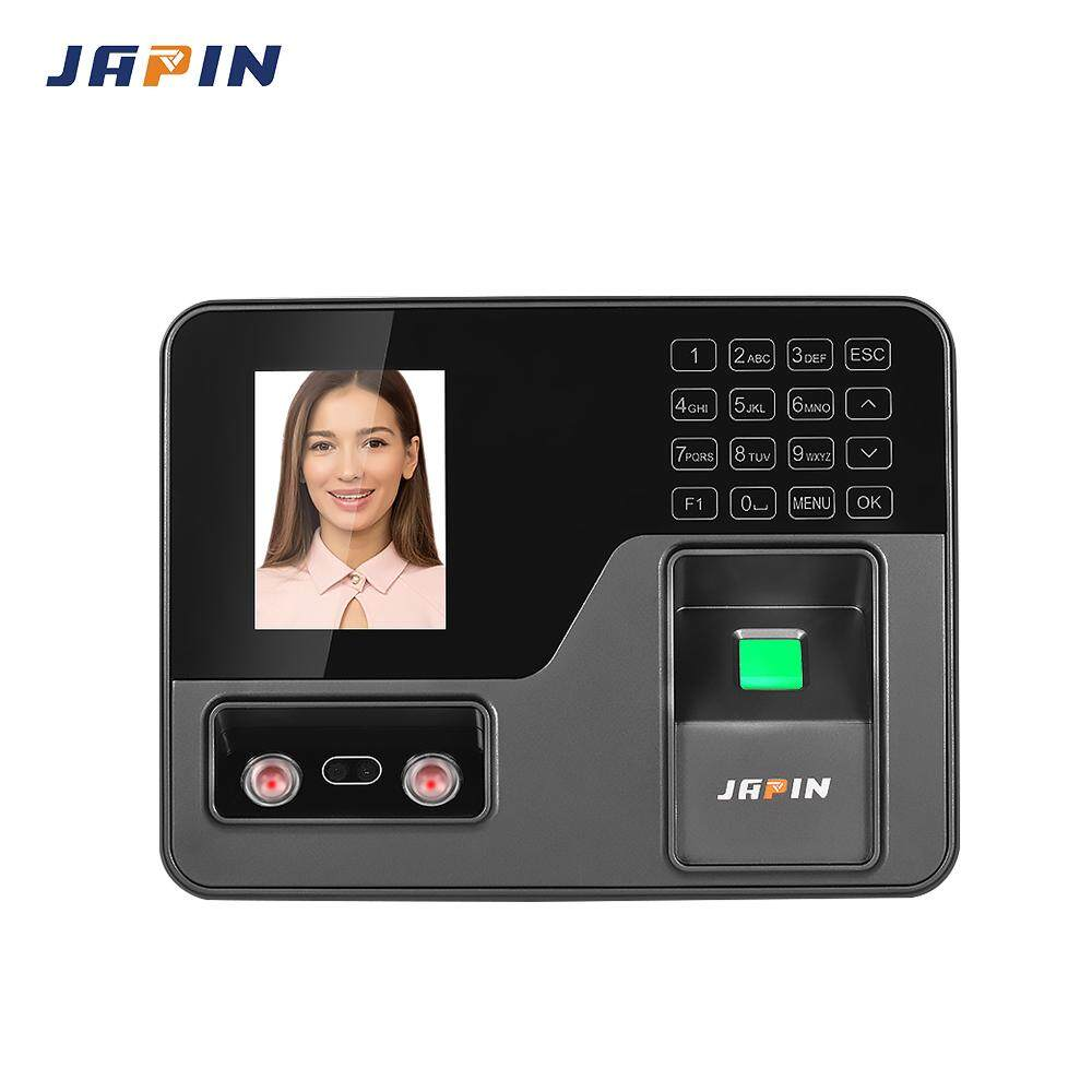 JAPIN Biometric Intelligent Attendace Machine Face Fingerprint Password Recognition Employee Checking-in Time Clock Recorder Reader Device with 2.8 Inch TFT Screen Touch-Key