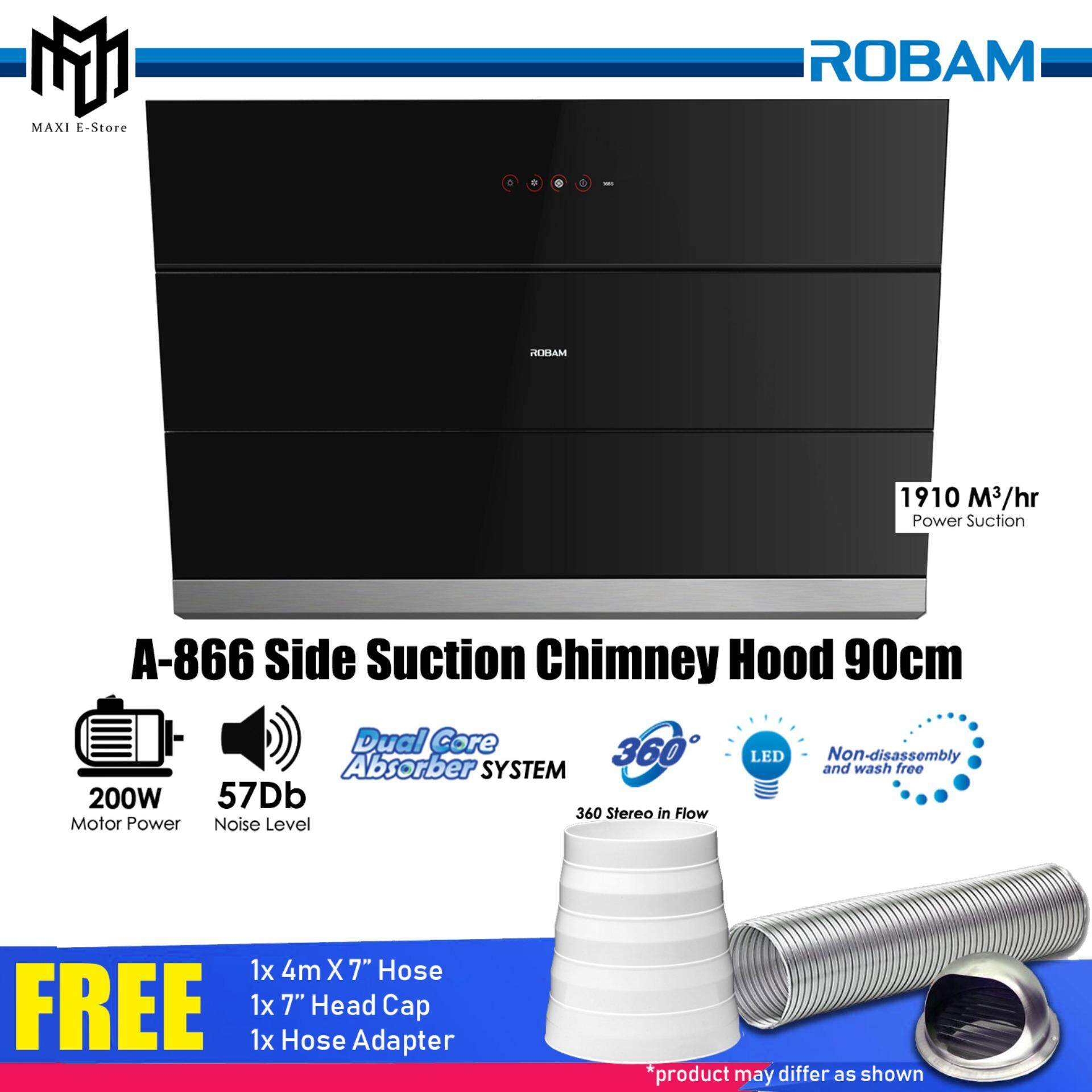 Robam A866 Side Suction Chimney Hood 90cm 1910 M3/hr Power Suction