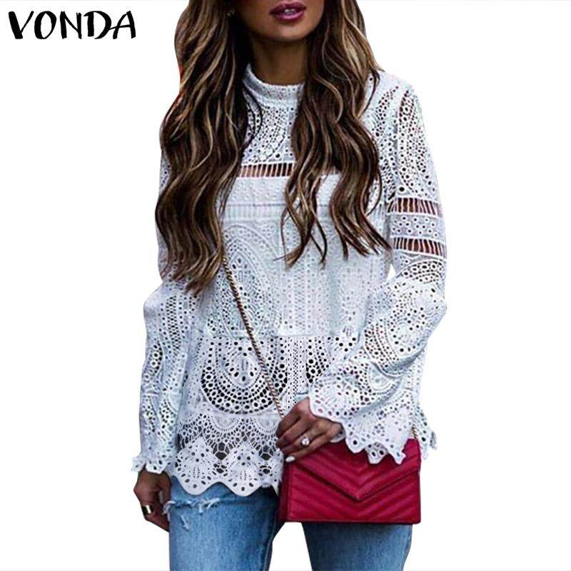 Vonda Women Long Sleeve Shirt Hollow Out Lace Up Boho Oversized Top Blouse Tee By Vonda Official Store.