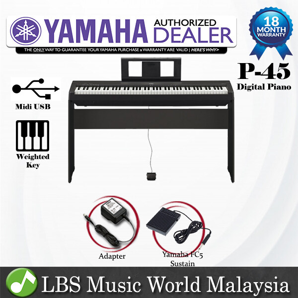 Yamaha P-45 88 Key Digital Piano with Yamaha FC-5 Sustain Pedal (P45 P 45) Malaysia