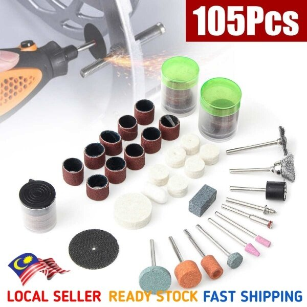 [READY STOCK] 105pcs Rotary Tool Accessories Kit For Grinding Sanding Polishing & Cutting Mini Drill