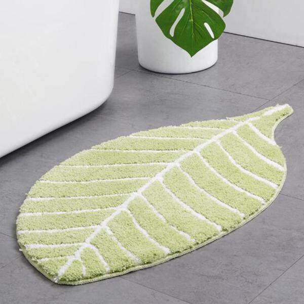 Star Mall Home Unique Leaves Shape Non Slip Water Absorption Floor Mat Carpet for Kitchen Living Room