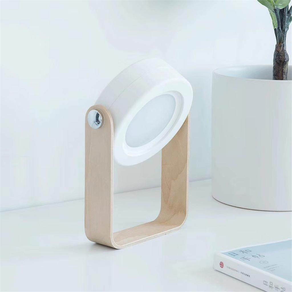 MagiDeal Creative Wooden Handle Portable Lamp Foldable LED Charging Table Light